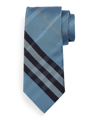 Manston Textured Check Silk Tie, Pale Blue
