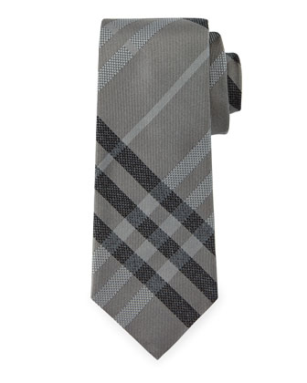 Manston Textured Check Silk Tie, Light Gray