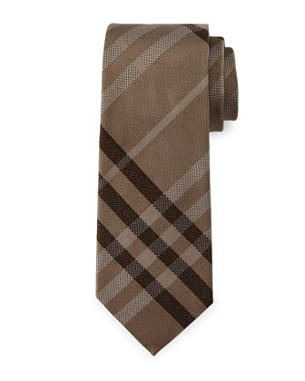 Manston Textured Check Silk Tie, Camel