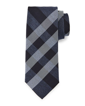 Manston Small-Check Silk Tie, Navy