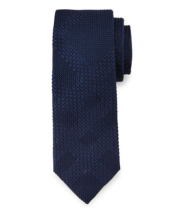 Textured Tonal-Check Knit Silk Tie, Navy