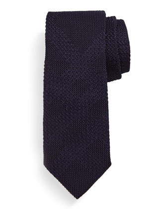 Textured Tonal-Check Silk Knit Tie, Dark Purple