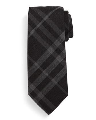 Manston Check Silk Tie, Black