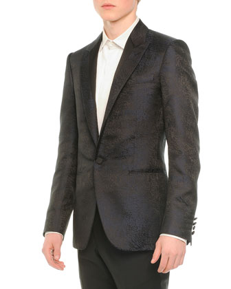 Coated One-Button Evening Jacket, Navy