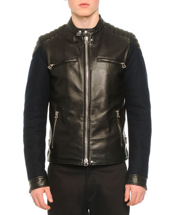 Leather Contrast-Sleeve Moto-Style Jacket, Knit Asymmetric Seam T-Shirt & ...
