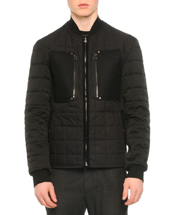 Quilted Baseball Collar Zip Jacket, Crewneck Colorblock Sweater & Woven ...