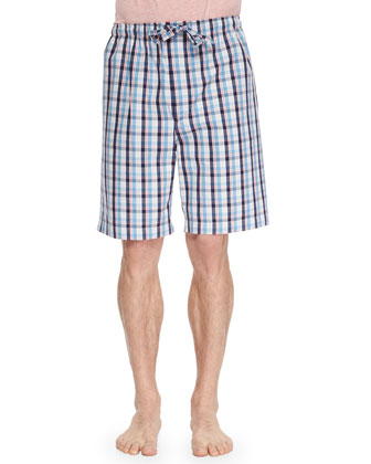 Palermo Plaid Knit Shorts, Aqua