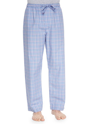 Barker Plaid Pajama Pants, Blue