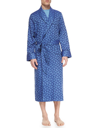 Paris Paisley-Print Cotton Robe, Blue