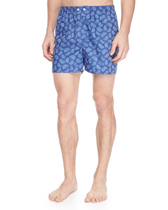 Paris 5 Paisley-Print Boxer Shorts, Blue