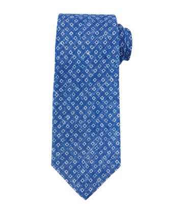 Micro-Square Linen Tie, Blue