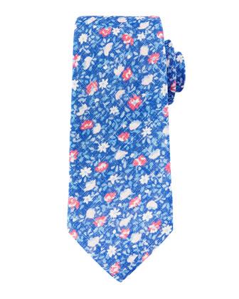 Floral-Print Linen Tie, Blue