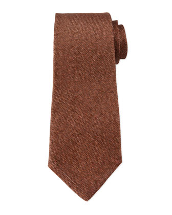 Textured Silk/Linen Blend Tie, Brown