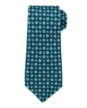 Mini-Flower Medallion Print Tie, Teal