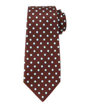 Contrast Polka-Dot Tie, Brown/Teal