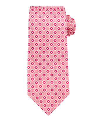 Floral Grenadine Square Print Tie, Hot Pink