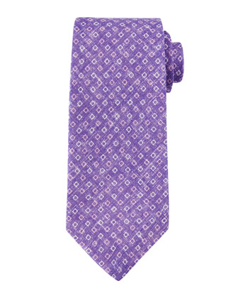 Micro-Square Linen Tie, Purple