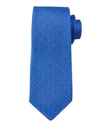 Textured Linen/Silk Blend Tie, Blue