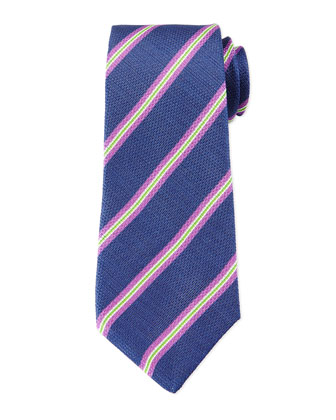Striped Textured Silk/Linen Tie, Blue