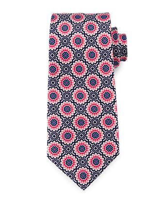 Large Floral-Print Silk Tie, Navy
