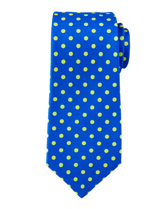 Contrast Polka-Dot Tie, Royal Blue/Green