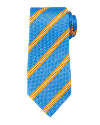 Striped Textured Silk/Linen Tie, Royal