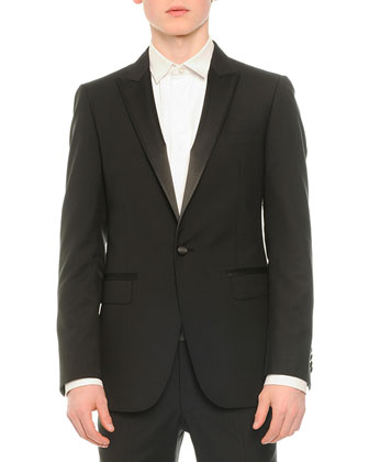 Satin-Lapel Tuxedo Jacket, Tuxedo Shirt with Pleated Bib & Attitude Wool ...