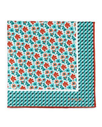 Flower-Print Silk Pocket Square, Green