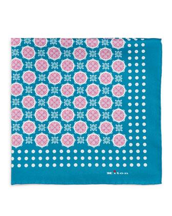 Medallion-Print Silk Pocket Square, Teal