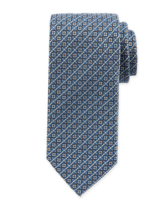 Checkerboard Silk Tie, Aqua