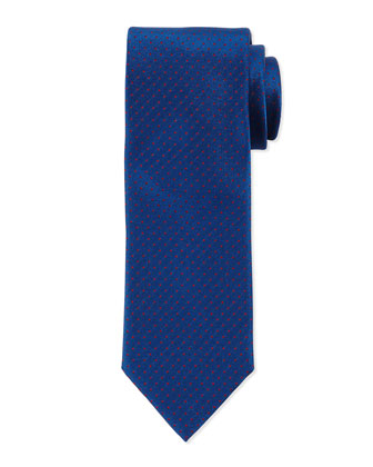 Woven Dot Neat Silk Tie, Blue