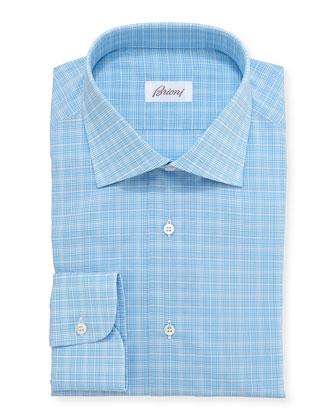 Glen Plaid Dress Shirt, Aqua