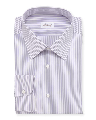 Track-Stripe Dress Shirt, Purple/White