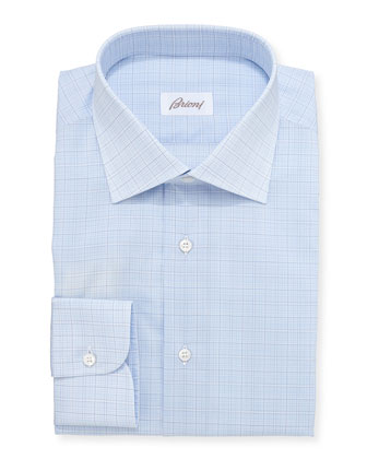 Woven Plaid Dress Shirt, Pale Blue