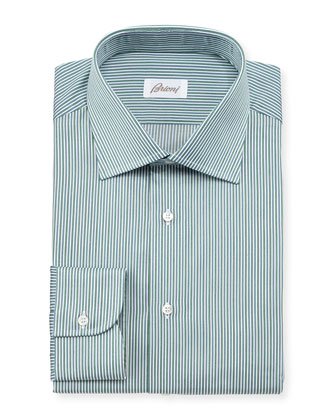 Railroad Striped Cotton Dress Shirt, Green/Charcoal