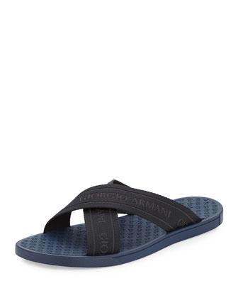 Webbed Crisscross Logo Sandal, Blue