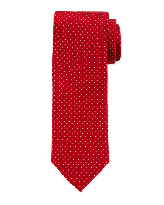 Woven Dot Neat Silk Tie, Red