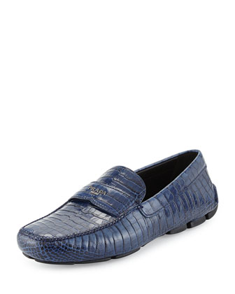 Crocodile Embossed Loafer, Navy