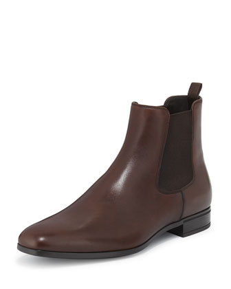 Leather Chelsea Rubber-Bottom Boot, Brown