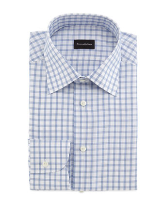 Bold Grid Dress Shirt, Blue/White