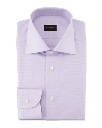 Micro-Graph Check Dress Shirt, Lavender