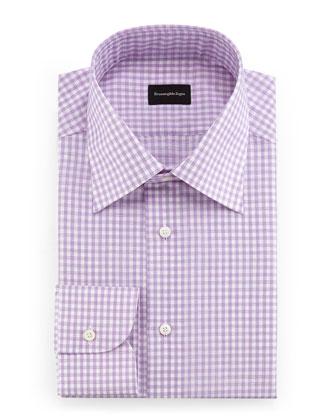 Check Woven Dress Shirt, Raspberry/White