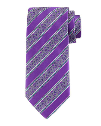 Stripe & Paisley-Print Silk Tie, Purple