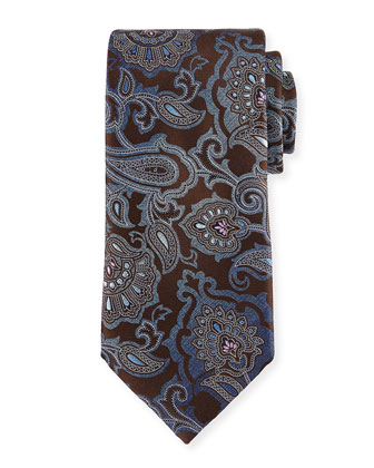 Allover Paisley Tie, Brown