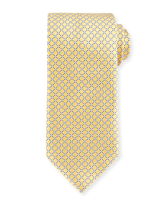 Dotted Lattice Silk Tie, Yellow
