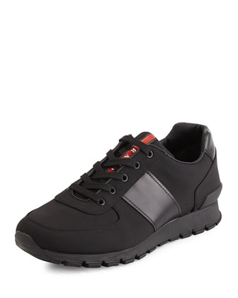 Leather & Nylon Running Sneaker, Black
