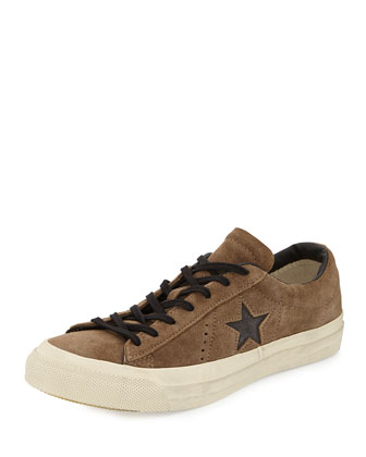 John Varvatos Suede Star Cutout Low-Top Sneaker, Olive