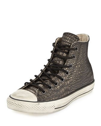 John Varvatos Metallic Reptile-Embossed High-Top Sneaker