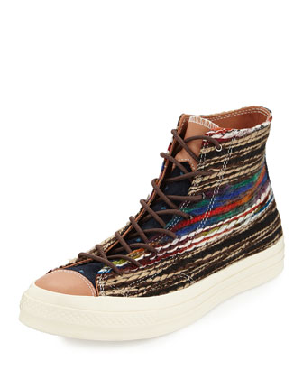 John Varvatos Striped Woven High-Top Sneaker