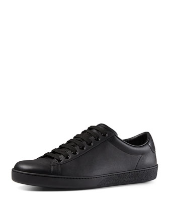 Leather Low-Top Sneaker, Black